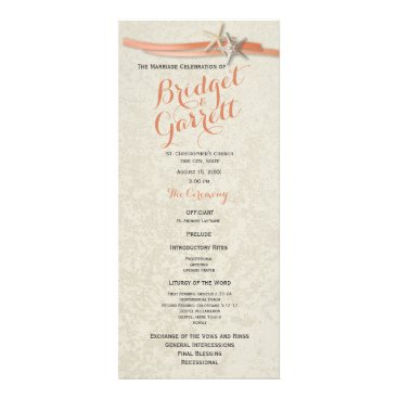 Beach Themed Coral Beach Starfish and Ribbon Wedding Program