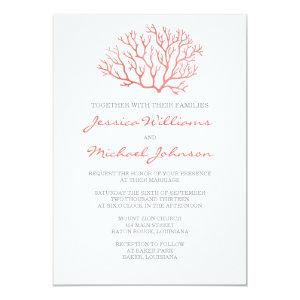 Coral Beach Wedding 5x7 Paper Invitation Card