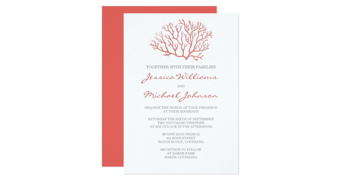 Z Coral Card Coral Beach Wedding Ca...