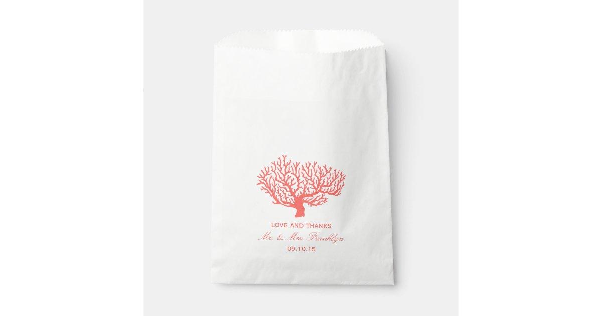 Coral Beach Wedding Favor Bag Zazzle