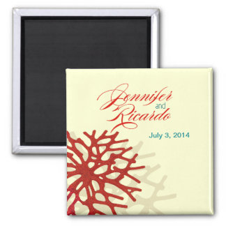 Coral Beach Wedding Favor Square Magnets