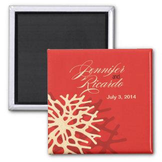 Coral Beach Wedding Favor Square Refrigerator Magnet