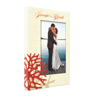 Coral Beach Wrapped Canvas Wedding Photo Canvas Print