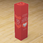"""Coral beads wedding anniversary photo wine box<br><div class=""""desc"""">35th coral anniversary gift wine or spirits box. Beautiful coral beads in hearts on red coral orange with photo template 35th coral wedding anniversary wine box packaging. Customize with your own recipients name or relatives details and photo. The 35th Anniversary year is traditionally associated with coral. Currently reads Congratulations Kathy...</div>"""