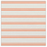 [ Thumbnail: Coral & Beige Colored Striped Pattern Fabric ]