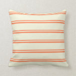 [ Thumbnail: Coral & Beige Colored Striped Pattern Throw Pillow ]