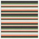 [ Thumbnail: Coral, Beige, Dark Olive Green & Black Colored Fabric ]