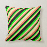 [ Thumbnail: Coral, Beige, Lime & Black Colored Stripes Pillow ]