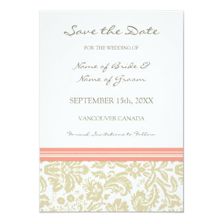 Coral Beige Photo Wedding Save the Date Card