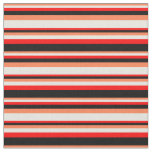 [ Thumbnail: Coral, Beige, Red & Black Colored Lined Pattern Fabric ]