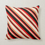 [ Thumbnail: Coral, Beige, Red & Black Colored Lined Pattern Throw Pillow ]