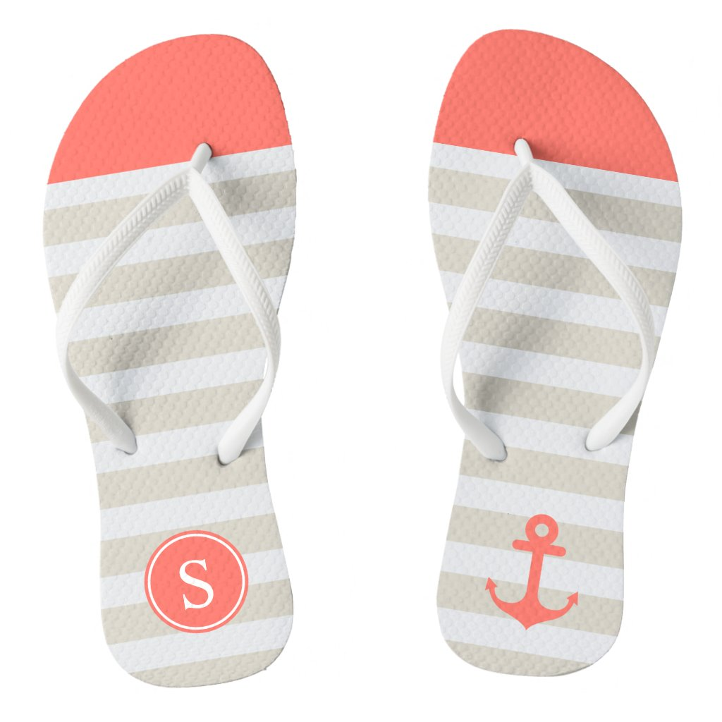 Coral Beige Strips - Cute Nautical Anchor Monogram Flip Flops