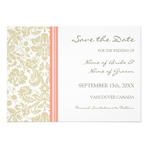 Coral Beige Wedding Save The Date Card 5 X 7 Invitation Card