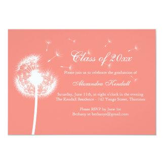 "Coral Best Wishes Graduation Invitation 5"" X 7"" Invitation Card"