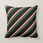[ Thumbnail: Coral, Bisque, Purple, Green & Black Colored Throw Pillow ]
