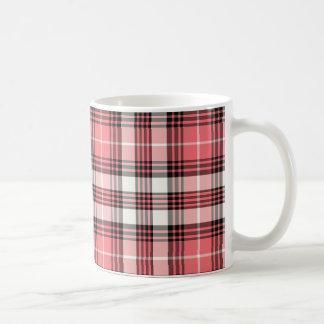 Coral, Black and White Girly Plaid Classic White Coffee Mug