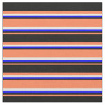 [ Thumbnail: Coral, Black, Blue, and Beige Colored Pattern Fabric ]
