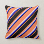 [ Thumbnail: Coral, Black, Blue, and Beige Colored Pattern Throw Pillow ]