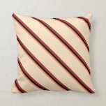 [ Thumbnail: Coral, Black, Brown & Bisque Pattern of Stripes Throw Pillow ]