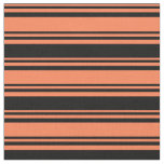 [ Thumbnail: Coral & Black Colored Stripes/Lines Pattern Fabric ]