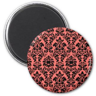 Coral & Black Damask Magnet