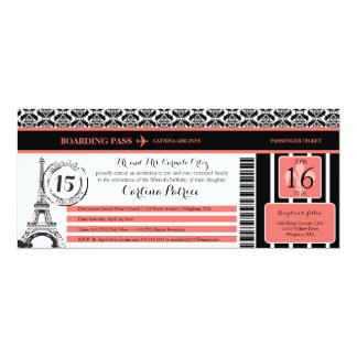Coral Black Damask Quinceanera Paris Boarding Pass Card