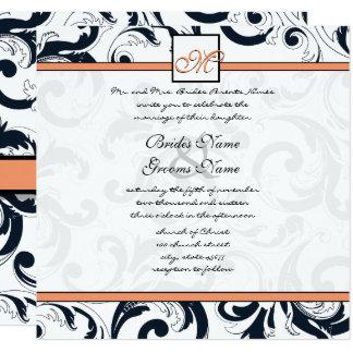 Coral & Black Damask Swirls Wedding Invitation