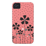 Coral & Black Flowers Case-Mate iPhone 4 Case