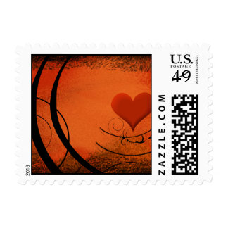 Coral & Black Heart Swirl Postage