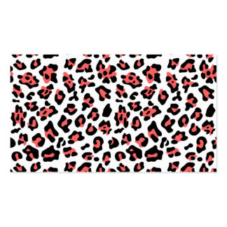 Coral Black Leopard Animal Print Pattern Business Cards