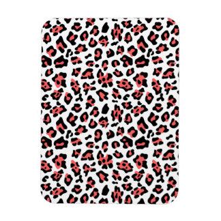 Coral Black Leopard Animal Print Pattern Flexible Magnets