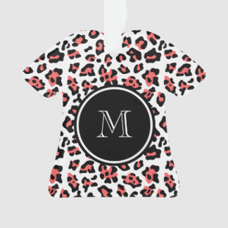 Coral Black Leopard Animal Print with Monogram Ornament
