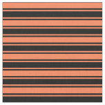 [ Thumbnail: Coral & Black Pattern of Stripes Fabric ]