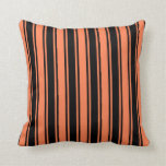 [ Thumbnail: Coral & Black Pattern of Stripes Throw Pillow ]