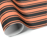 [ Thumbnail: Coral & Black Pattern of Stripes Wrapping Paper ]