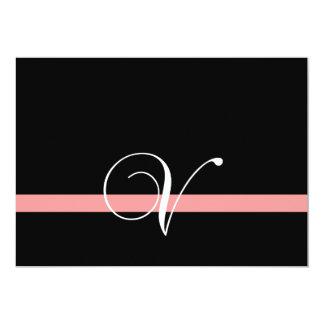 Coral Black White Monogram V Wedding Invitation