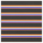 [ Thumbnail: Coral, Blue, Beige, Chocolate & Black Lines Fabric ]
