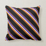 [ Thumbnail: Coral, Blue, Beige, Chocolate & Black Lines Pillow ]