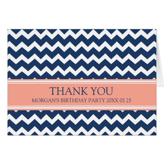 Coral Blue Chevron Birthday Party Thank You Card