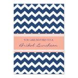 """Coral Blue Chevron Bridal Lunch Invitation Cards 5"""" X 7"""" Invitation Card"""
