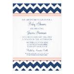 Coral Blue Chevron Custom Baby Shower Invitations