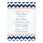 "Coral Blue Chevron Custom Baby Shower Invitations 5"" X 7"" Invitation Card"
