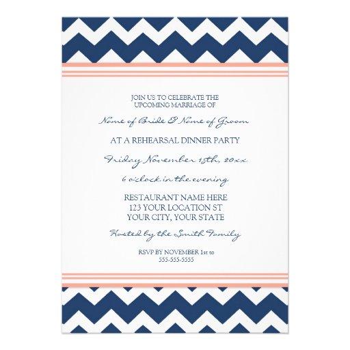 Coral Blue Chevron Rehearsal Dinner Party Custom Announcement