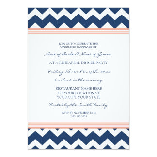 Coral Blue Chevron Rehearsal Dinner Party 5x7 Paper Invitation Card