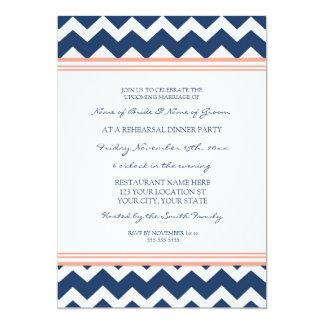 "Coral Blue Chevron Rehearsal Dinner Party 5"" X 7"" Invitation Card"