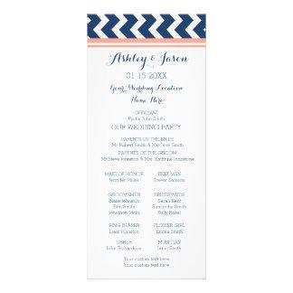 Coral Blue Chevron Wedding Program