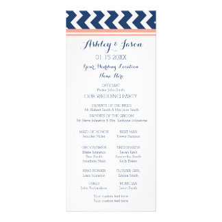 Coral Blue Chevron Wedding Program Custom Rack Cards