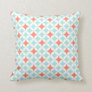 Coral Blue Circles Pattern Decorative Pillow