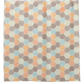coral and blue shower curtain. Coral Blue Cream Clay Honeycomb Pattern Shower Curtain And Curtains  Zazzle