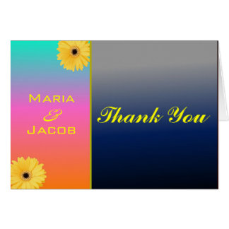 Coral Blue Daisy Personal Thank You Notecard Stationery Note Card